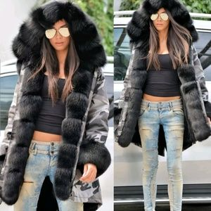 Chic Faux Fur Hooded Jacket Winter Coat Camo Parka